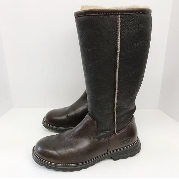 53b64a0a301 UGG Australia Brooks Tall Sheepskin Brown Leather